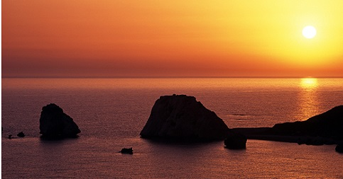 Aphrodite's rock at sunset, Cyprus.